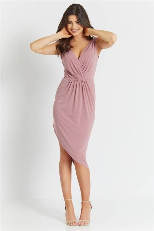 gaja wrzosowa klasyczna mini sukienka ołówkowa na imprezę