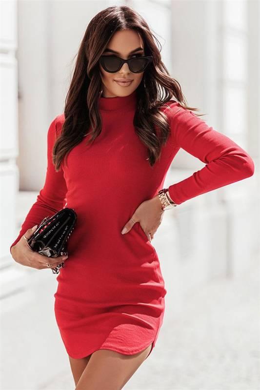 marinessa krótka elegancka czerwona sukienka ołówkowa do pracy