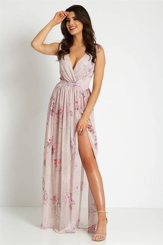 nikita długa wieczorowa różowa sukienka bez pleców