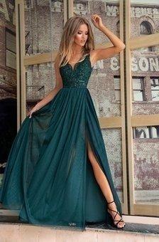 CHIARA - długa suknia wieczorowa-zielony
