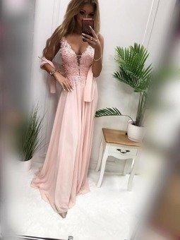 Długa Sukienka JAGODA-puder