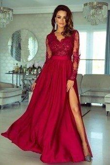 Długa Sukienka LUNA koronkowa - Bordo