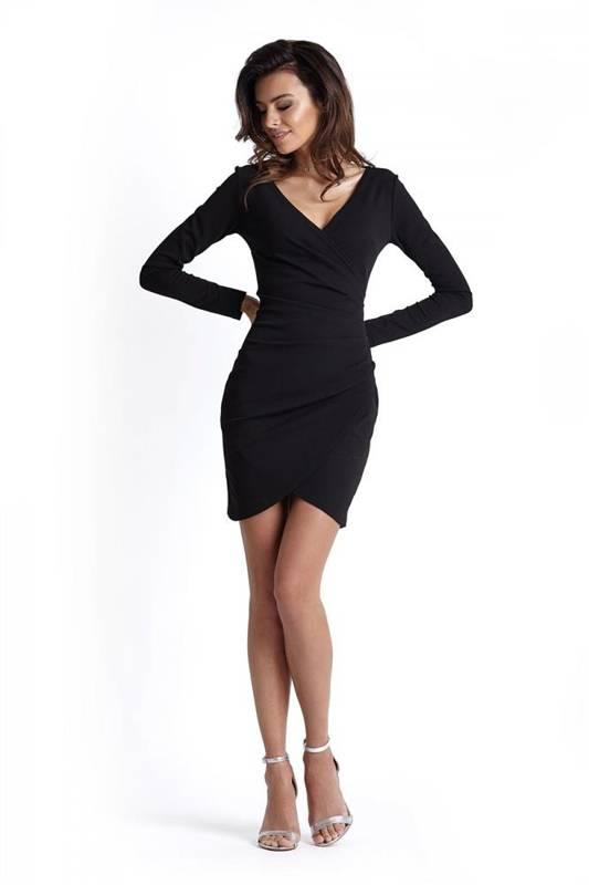 Drapowana  marika mała czarna sukienka z długim rękawem