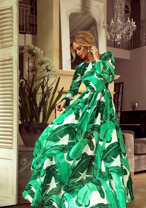 LINDA- Sukienka długa Maxi-zielona w liście