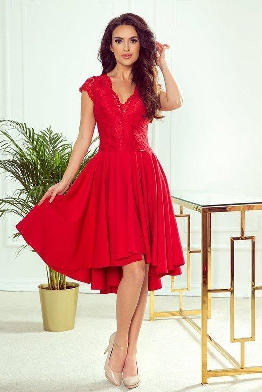 PATRICIA - sukienka z dłuższym tyłem -czerwony