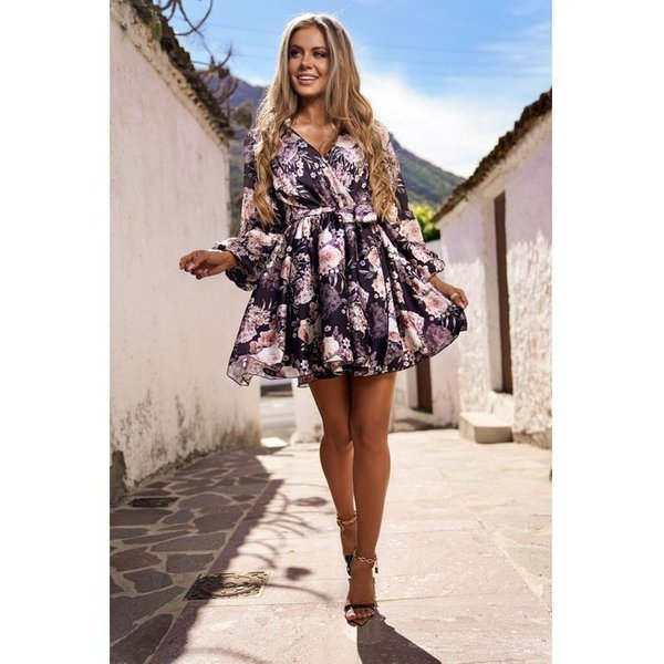 Sukienka CHLOE - Czarna  KWIATY