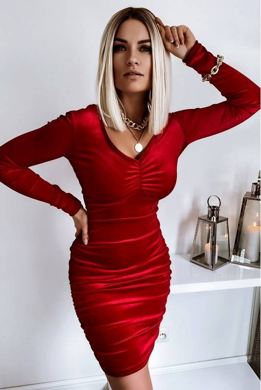 Sukienka Marszczona Red