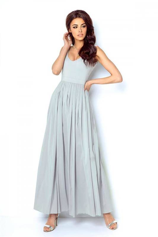 andrea długa elegancka szara sukienka rozkloszowana na imprezę