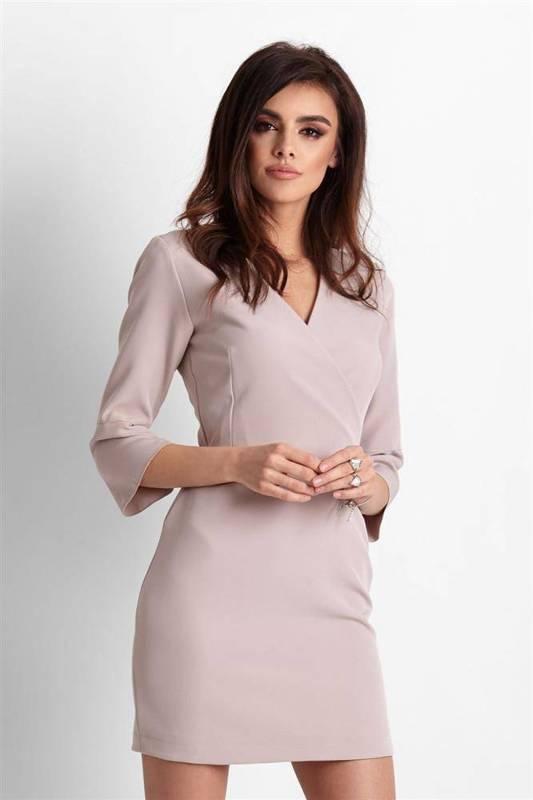 blanche krótka klasyczna beżowa sukienka ołówkowa do pracy