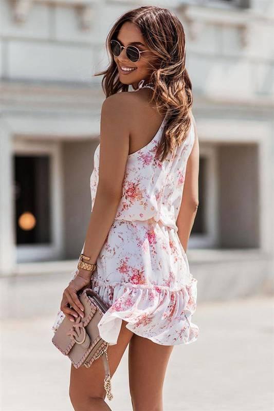 capri biała mini sukienka rozkloszowana na co dzień z falbanką