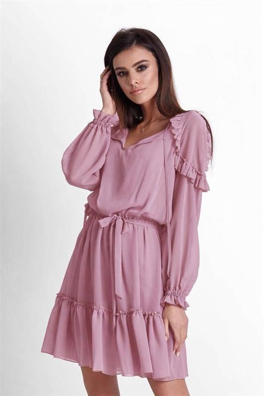 felicia w stylu boho różowa   sukienka      na codzień