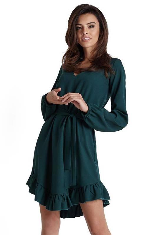 masha w stylu boho krótka zielona sukienka rozkloszowana z falbaną