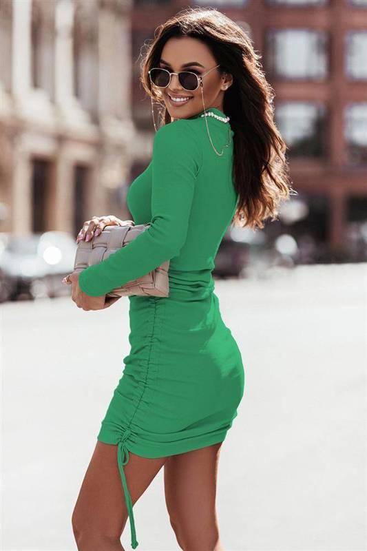 nastia bottega green elegancka mini sukienka ołówkowa do pracy