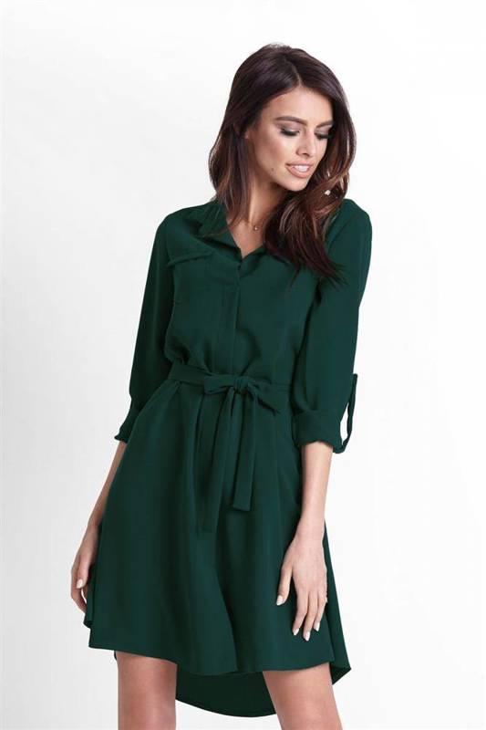 octavia zielona elegancka mini sukienka militarna do pracy boho