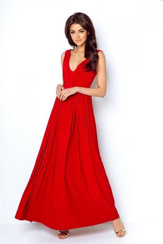 rebeca długa koktajlowa czerwona sukienka na ramiączkach karnawał