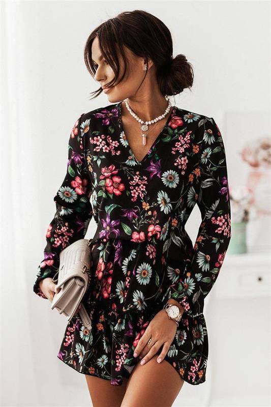 salma w kwiaty krótka elegancka czarna sukienka