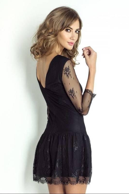 scarlett krótka elegancka czarna sukienka na karnawał z siateczką
