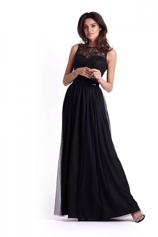 sisi maxi klasyczna czarna sukienka rozkloszowana na karnawał