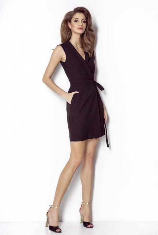 suzanne mała czarna klasyczna sukienka na ramiączkach do pracy