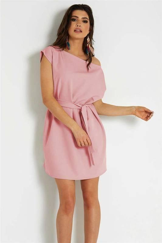 valencia krótka klasyczna różowa sukienka rozkloszowana do pracy
