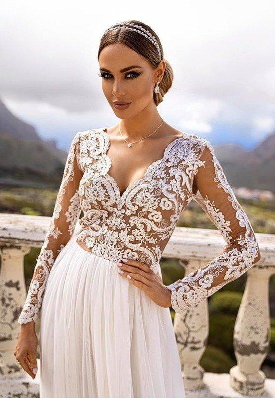 ADEL - długa suknia wieczorowa-biały-beż