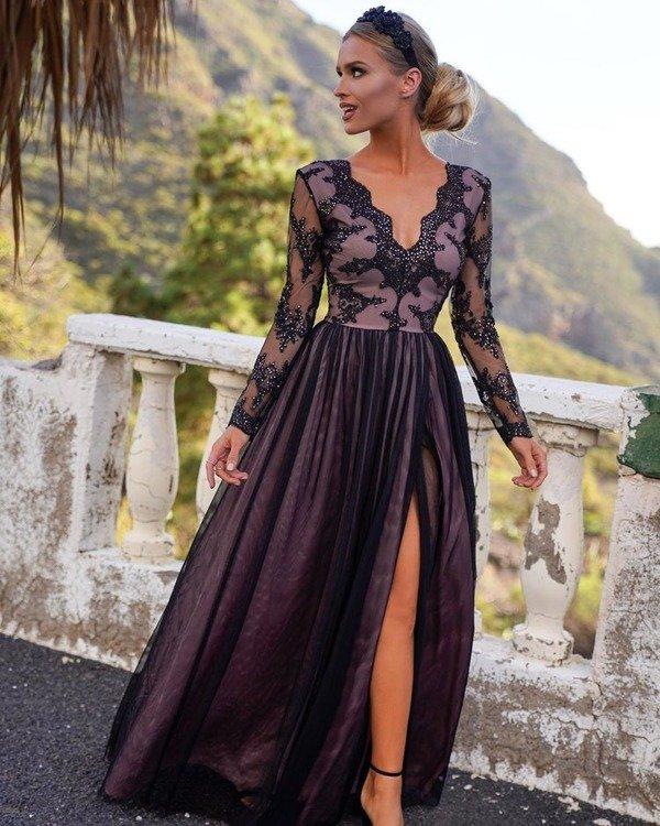ADEL - długa suknia wieczorowa-czarny-puder