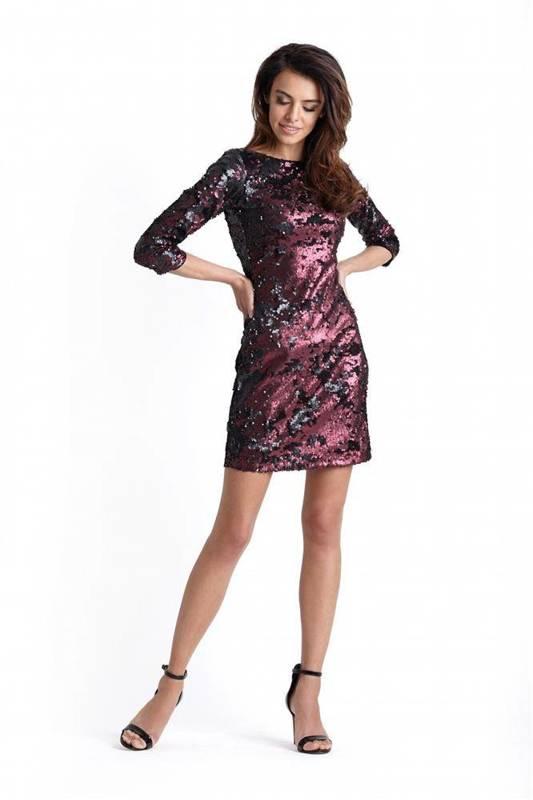 Cekinowa bordowa  colin krótka sukienka cekiny na imprezę