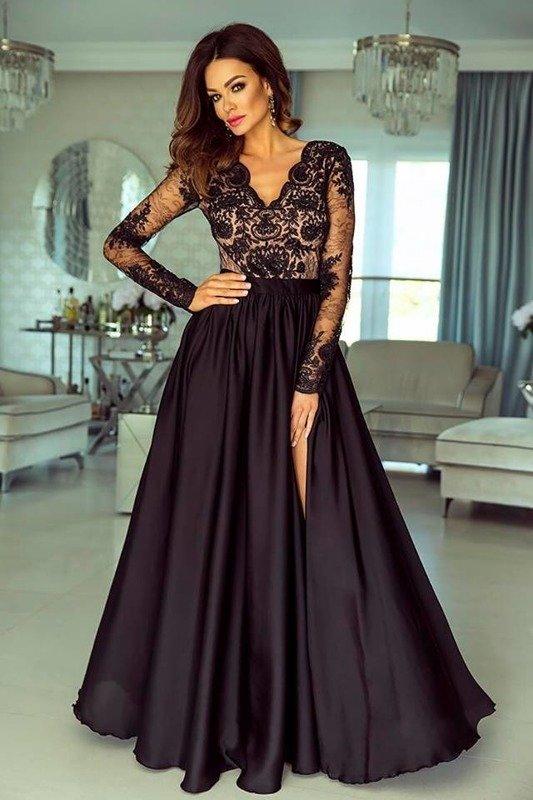 Długa Sukienka LUNA koronkowa - czarny-capuccino