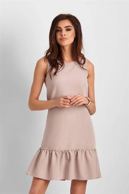 Elegancka  lorena bez rękawów krótka beżowa sukienka z falbaną