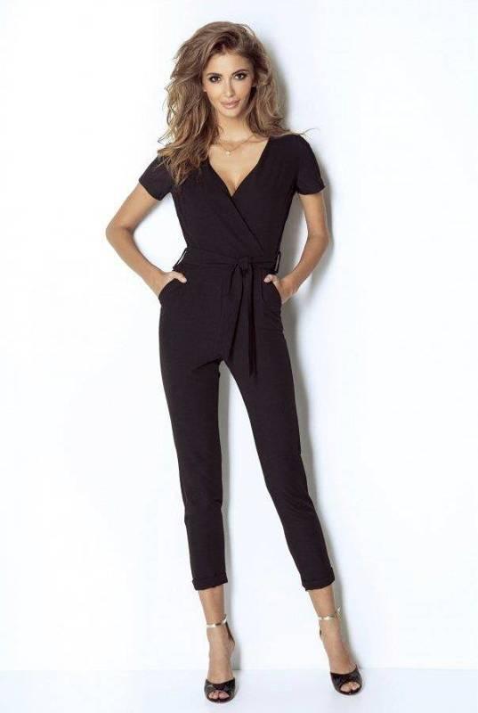 Elegancki czarna  kombinezon damski carllo na poprawiny