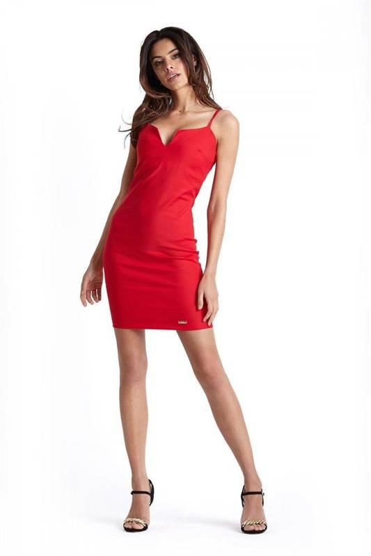 Klasyczna  cindy z zipem krótka elegancka czerwona sukienka