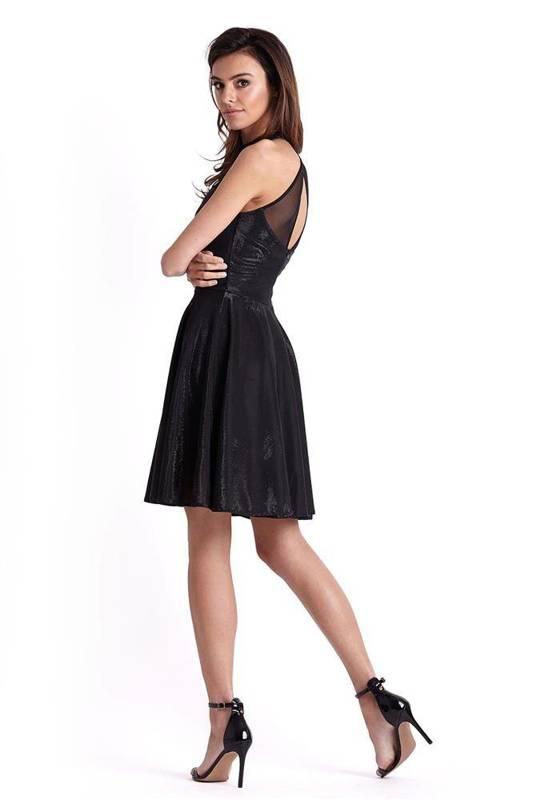 Połyskująca rozkloszowana  gemma mała czarna elegancka sukienka z siateczką