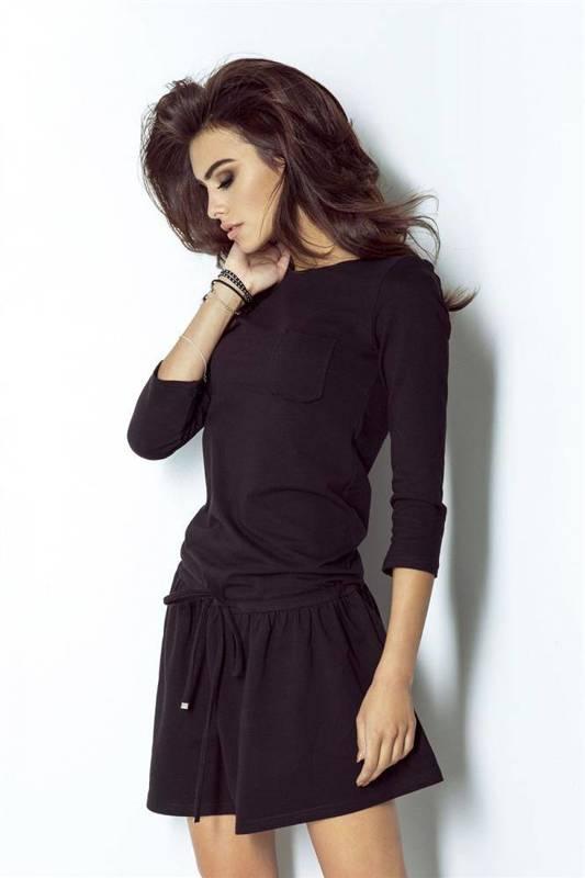 Sportowa  anette czarna mini sukienka rozkloszowana na co dzień