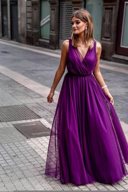 Sukienka - AGNES - śliwka