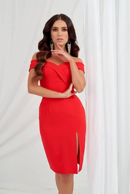 Sukienka Kessy mini bez ramiączek-czerwony