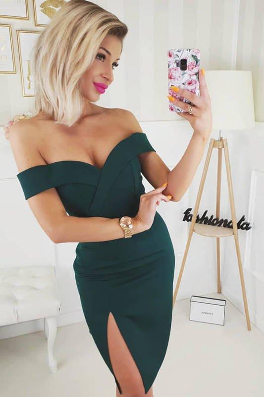 Sukienka Kessy mini bez ramiączek-zielony