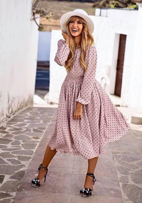 Sukienka MADLEN - beżowa w grochy