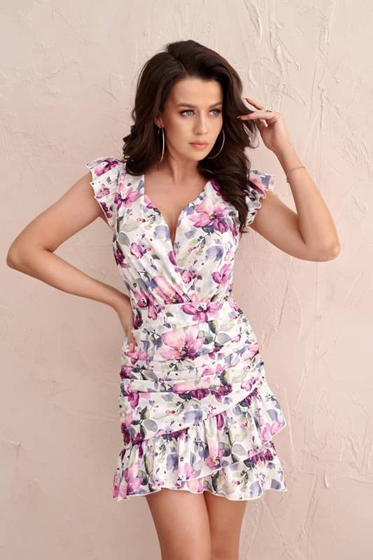 Sukienka Mia-  biała w kwiaty