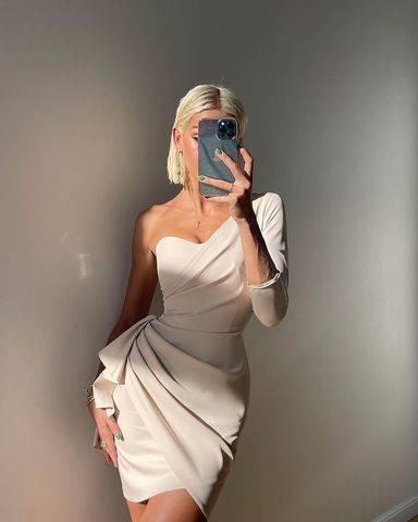 Sukienka Queeny - jasny beż