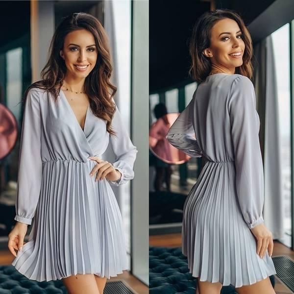 Sukienka plisowana- szara