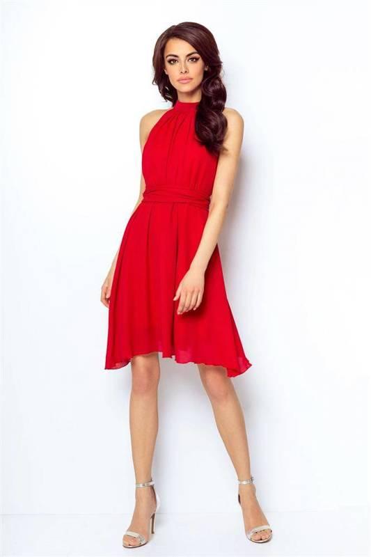 Szyfonowa  livia czerwona   sukienka  rozkloszowana    na karnawał
