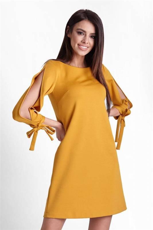 Trapezowa  diva musztardowa mini sukienka rozkloszowana