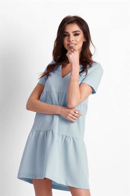 Trapezowa  lola niebieska   sukienka  rozkloszowana    pastelowa