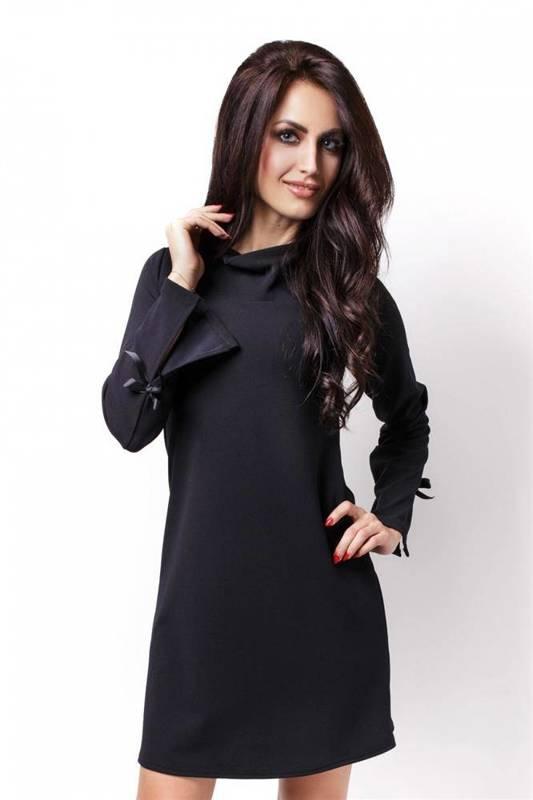 Trapezowa  natalie mała czarna elegancka sukienka z długim rękawem