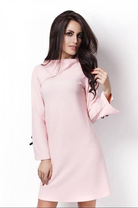 Trapezowa  natalie różowa elegancka mini sukienka na karnawał