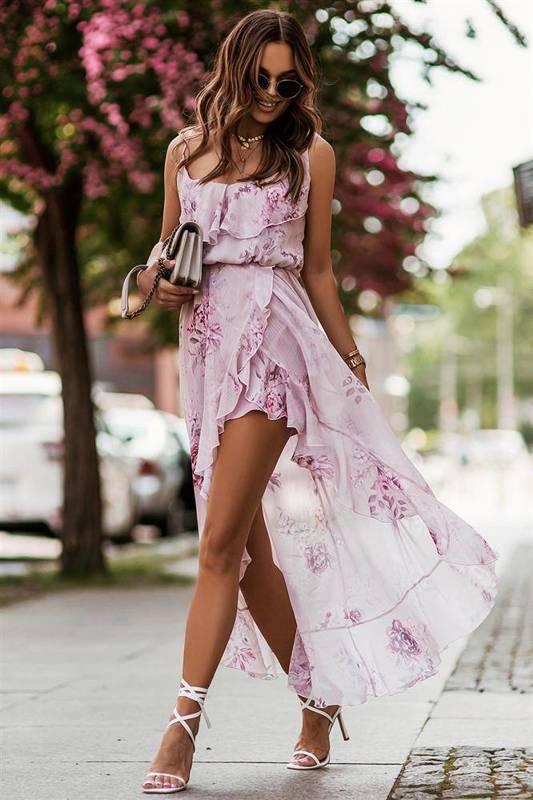 Zwiewna  amis midi elegancka różowa sukienka na co dzień z falbaną