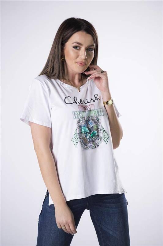 bawełniany t-shirt z kryształkami na biuście