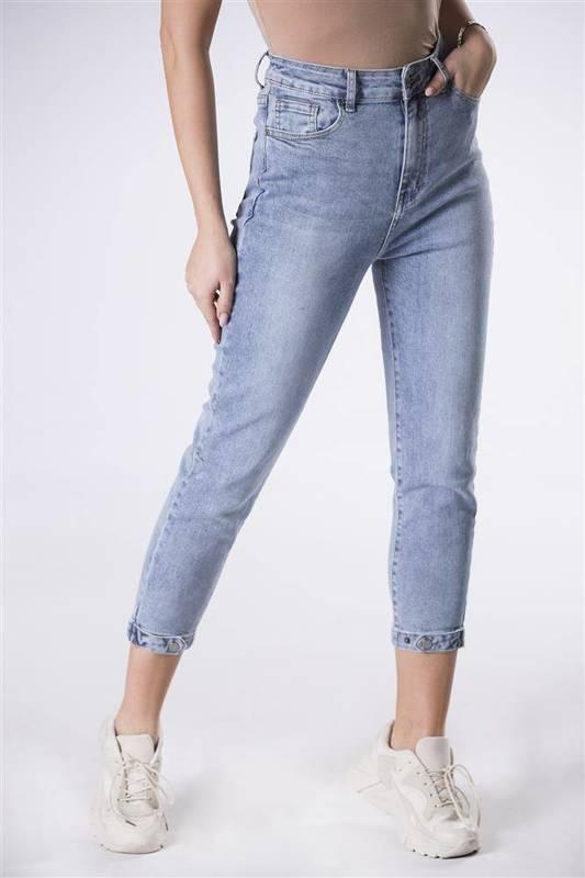 dopasowane jeansy z zakładkami przy nogawkach