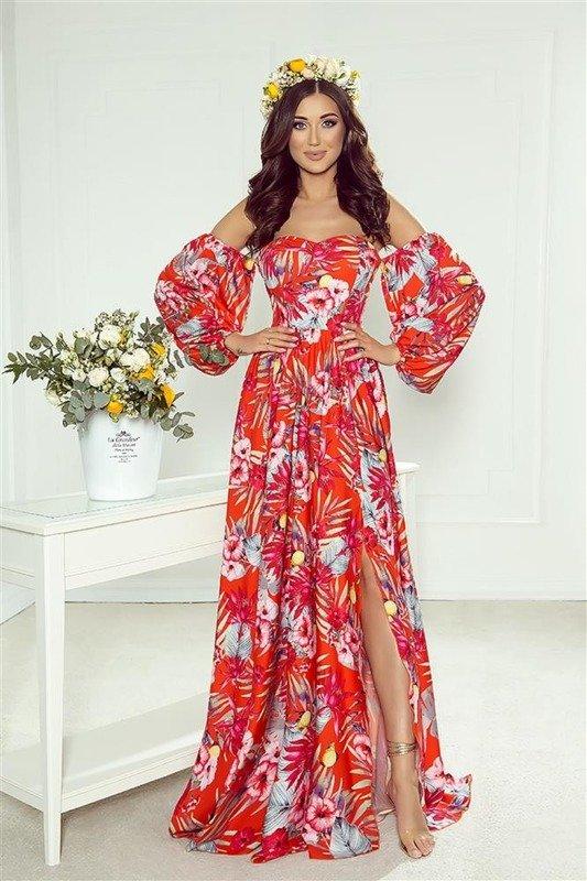 sukienka maxi z gorsetową górą i bufiastymi rękawami