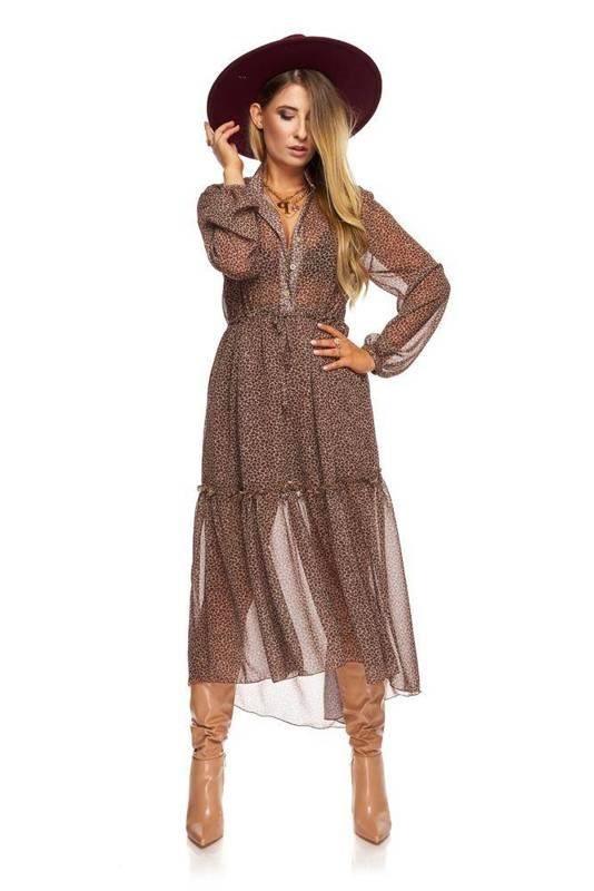 tiulowa sukienka o koszulowym kroju